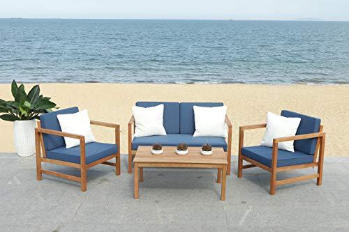 Safavieh PAT7030E Collection Montez Teak 4 Pc Accent Pillows Outdoor Set, Natural/Navy