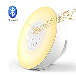 Home-Neat Wake Up Light Alarm Clock,Sunrise Alarm Clock with Blutooth 4.0 Speaker,FM Radio,Nature Sounds,7 Colors Night Light,Smart Snooze Function,3.5mm AUX,Touch Control with USB Charger