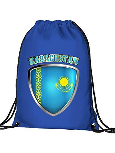 Golebros Kasachstan Kazakhstan Fan Artikel 4728 Fuss Ball Turn Sport Beutel Unisex EM 2020 WM 2022 Trikot Look Flagge Fahne Kinder Kids Junge Mädchen Blau