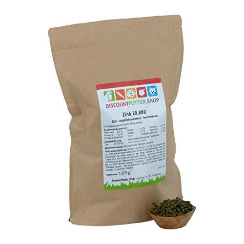 discountfutter.shop Zink 20.000 (organisch) für Pferde (1kg - pelletiert) ohne Getreide und Zuckerzusatz