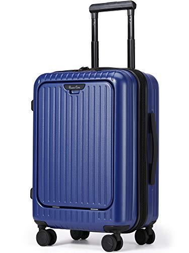 Roam.Cove 拡張 スーツケース 軽量 機内持ち込み キャリーケース キャリーバッグ 静音 ビジネス フロントオープン 日乃本キャスター TSAロック 出張 シンプル おしゃれ RC-SU058 (NEW ブルー-最適進化, 約39L(拡張時),2~3泊)