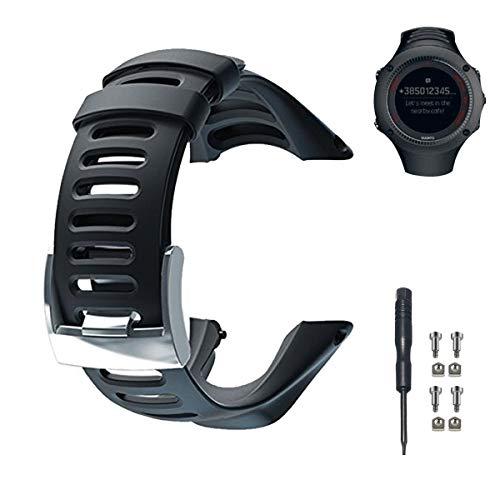 Correa de reloj de repuesto de Phifo, de goma suave, color negro, incluye destornillador y 4 tornillos, compatible con SUUNTO Ambit 3 PEAK, Ambit 2 y 1