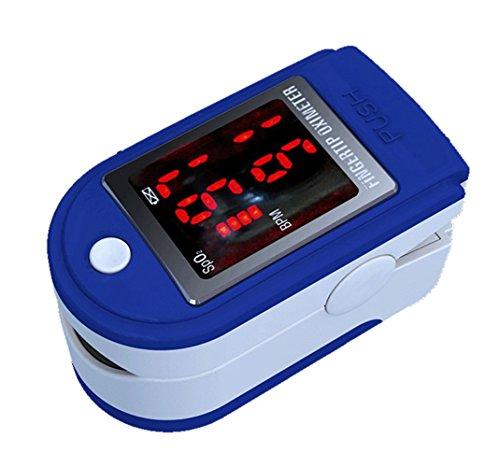 Contec Fingertip Pulse CMS 50DL - Oxímetro y protector de goma KIKAR Supersaver - Color azul