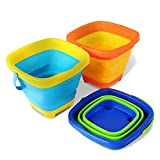 Kidtion Beach Toys Buckets, Collapsible Buckets for Kids Camping - 3 Packs, Multipurpose Silicone Sand Buckets, Beach Buckets with Multiple Colors, Foldable Buckets with Compact Design