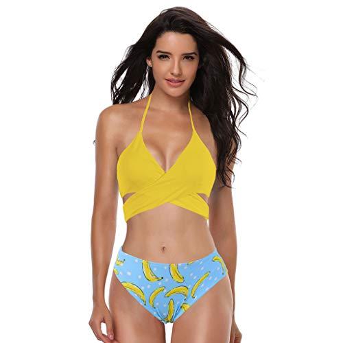 Bikinis Mujer 2019 Braga Alta Tangas Sexys Mujer Traje de baño Mujer Deportivo Ropa de Verano Playa Bikinis brasileños Mujer 2PC Negro Blanco Azul Amarillo POLP