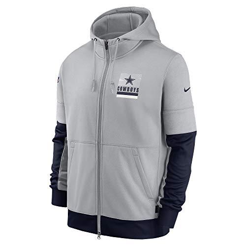 NFL Dallas Cowboys Herren Nike Lockup Therma Full Zip Hoodie, Herren, Grau/Marineblau, Medium