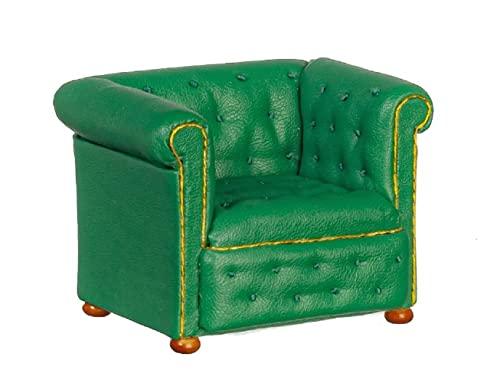 Chesterfield-Sessel aus grünem Leder, JBM Miniatur-Wohnzimmermöbel