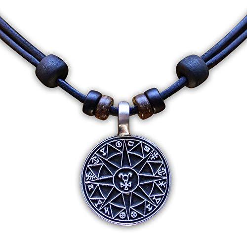 HANA LIMA ® Lederkette Halskette Schutzamulett Herren Damen Metallanhänger