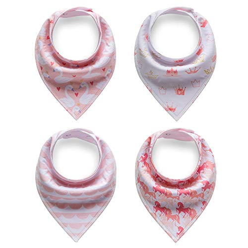 TWINOR 4-pack Baby Bandana Drool Bibs for Drooling and Teething,100% Organic Cotton, Super Absorbent (princess diary)