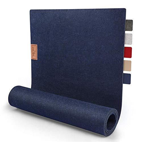 Camino de mesa de Sølmo de diseño de fieltro, 150 x 40 cm, lavable, con etiqueta de piel, mesa escandinava, alfombra de fieltro para primavera y primavera (azul)