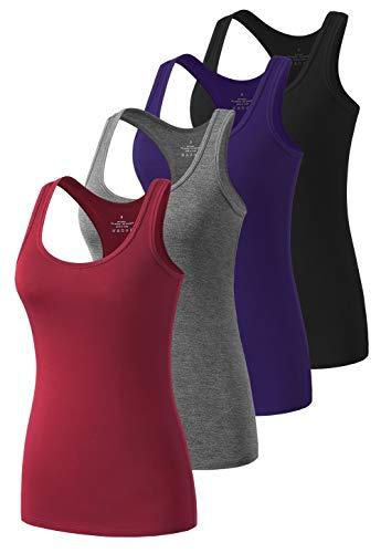 Star Vibe Racerback Workout Tank Tops for Women Basic Athletic Tanks Yoga Shirt Sleeveless Exercise Tops 4 Pack Black/Grey/Navy/Burgundy XL