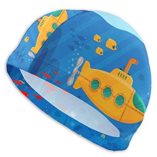 ZANSENG Unisex-Erwachsenen-Badekappe, gelbes U-Boot-Periskop-Unterwasserkonzept Marine Langlebige, schnell trocknende Badekappen für langes Haar, kurzes Haar, Erwachsene Jugend, Frauen, Männer