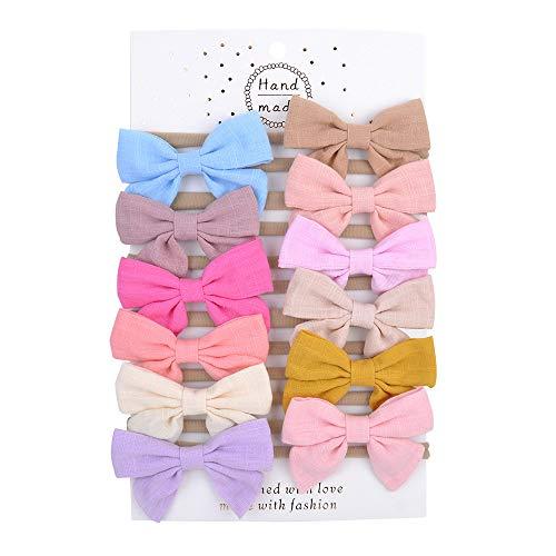 YHXX YLEN 12 Stück Baby Stirnbänder Nylon Haarbänder Haarschleife Gummibänder für Babys Neugeborene Kleinkinder