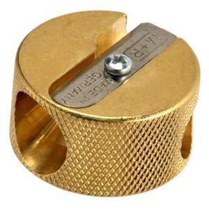 Mobius & Ruppert Solid Brass Pencil Sharpener Circular Round Double Heavy Duty Sharpener 5112 (Dual Size Barrel)
