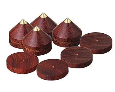 LuguLake Red Sandalwood Speaker Spike Set, Isolation Spikes Set for Audio Equipment - 4 Packs (Red Sandal) from LuguLake