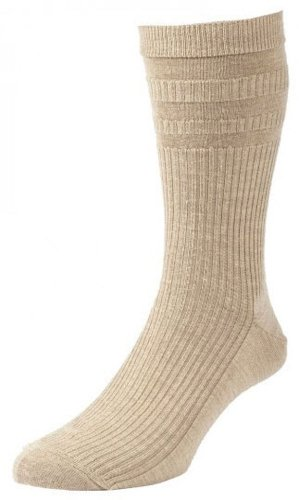 HALL SOFTOP Herren Socken HJ90 - Wollmischung - ohne Gummib& - bequemer Rand - 3er-Pack - EU 39-45 Hellbeige