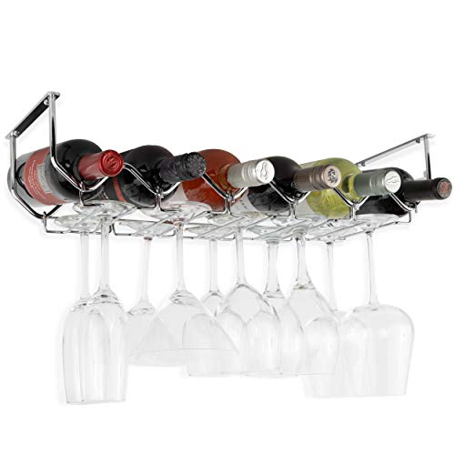 Wallniture Piccola Under Cabinet Wine Rack & Glasses Holder Kitchen Organization with 6 Bottle Organizer Metal Chrome