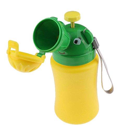 DeemoShop Urinal Pot Portable Cute Bottle Urinal Used Children Emergency Urinal Travel Accessory 18.5 x 8.5 cm Yellow&Green