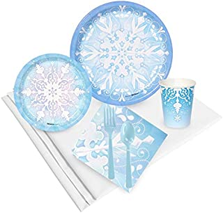 BirthdayExpress Snowflake Winter Wonderland Christmas Party Supplies - Party Pack for 24