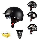 Casco semicasco retro para motocicleta, casco semiintegral con visera integrada, certificación ECE, casco abierto para motocicleta, retro, unisex, (C*, M)
