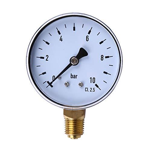 1 stks 1/4 Inch NPT Zijsteun 10 Bar Metalen Water Olie Luchtcompressor Drukmeter Manometer Drukmeetinstrument