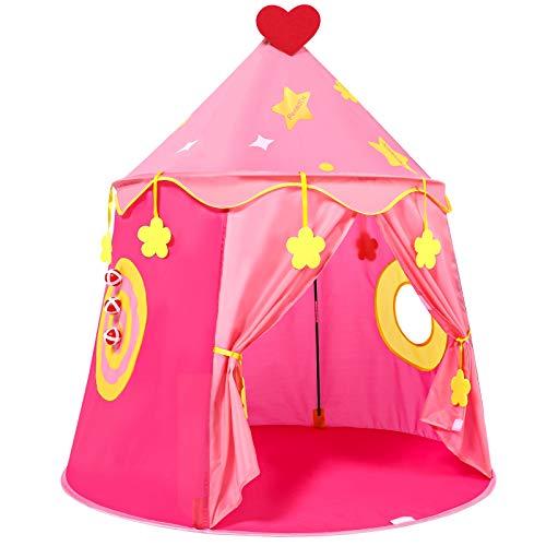 Tienda Campaña para Niños, Castillo de la Princesa, Carpa con Juego de Pitcheo, Pop Up Carpa Infantil, Regalo para Niños, Tienda Rosa Plegable para Interior y Exterior (Rosado)