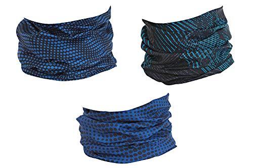 Hilltop 3 x Motorrad Multifunktionstuch, Schlauchtuch, Sport-Halstuch, Bandana / 3-er Set in aktuellen Designs, 3er Set:Blue Black