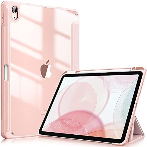FINTIE Custodia per iPad Air 4a Generazione 10.9  2020 con Pencil Holder - Sottile Leggero Trasparente Cover Posteriore con Bordo in TPU morbido, Auto Sveglia Sonno, Oro Rosa