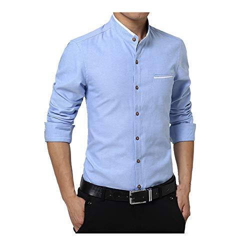 N\P Camisa de manga larga de los hombres de primavera otoño camisa delgada ajuste de negocios casual pulgadas color sólido
