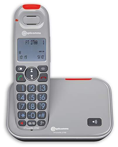Amplicomms PowerTel 2700 - Telefono Big Button per anziani - Telefoni forti per apparecchi acustici - Telefoni compatibili con apparecchi acustici