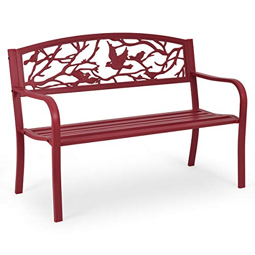 COSTWAY 2 Seater Garden Bench, Metal Frame Antique Loveseat Furniture with Decorative Cast Iron Backrest, Outdoor Patio Park Backyard Lounger Chair Seats