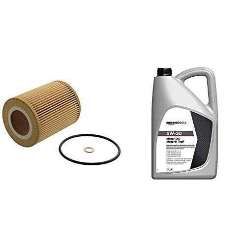 febi bilstein 26686 Ölfilter mit Dichtringen , 1 Stück & Amazon Basics – Motorenöl 5W-30 Typ F, 5 l