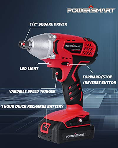 PowerSmart Impact Wrench, 20V Cordless Impact Wrench, 1/2