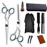 Runfon Herramientas de peluquería Tijeras Set Profesional de Acero Inoxidable Adelgazamiento del Cabello con el Pelo Azul Cabo