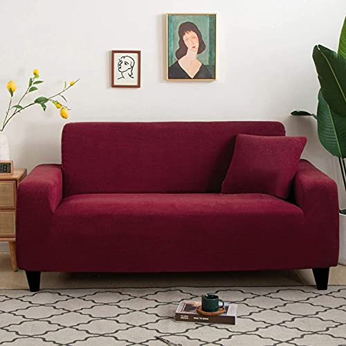 HZYDD Funda de sofá elástica, funda de sofá para 2 asientos con parte inferior elástica texturizada jacquard (144,8 cm - 185,4 cm)