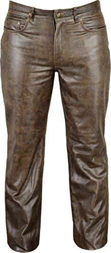 Fuente Vintage Röhren Lederhose lang Herren Damen eng- Lederjeans - Echt Leder Rind, Lederhose Jeans 501- Motorrad Lederhose Lederjeans (54 EU, Vintage Braun)