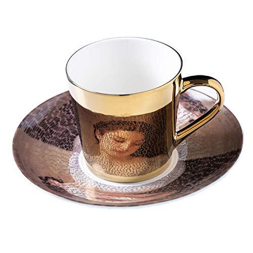 Mirror Coffee Mugs Specular Reflection Procelain Tea Cups and Saucers Send Spoon Creative Coffeeware