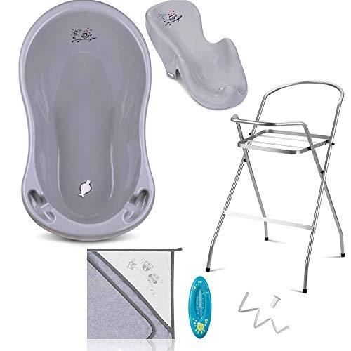 Baby Badewanne mit Gestell - 7 Set für Neugeborene mit Babybadewannen + Ständer + Badewannensitz - Babywanne mit Ständer