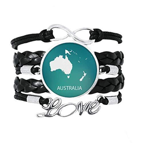 DIYthinker Australien Ozeanien Kontinent Umriss Karte Armband Liebe Zubehör gedrehtes Leder Strickseil Armband Geschenk