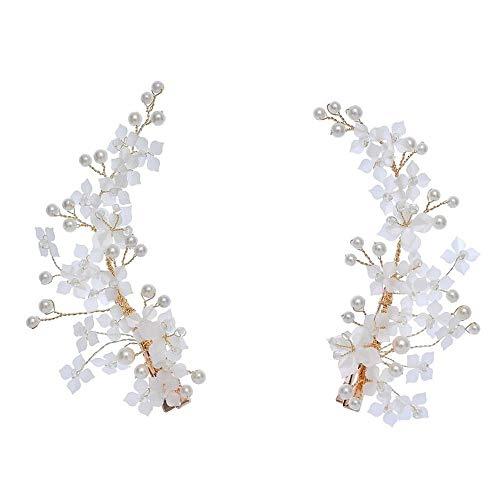 YTFAIFEN Goldenes europäisches und amerikanisches handgefertigtes Perlen-Doppelclip, Braut-Toast-Abendkleid, Hochzeit, schöner Kopfschmuck, Retro-Stil