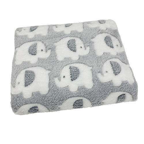 Manta para cochecito de elefante. Manta para bebé, color rosa, manta azul, manta gris, manta de guardería, manta para recién nacido. Manta de forro polar. Manta polar gris