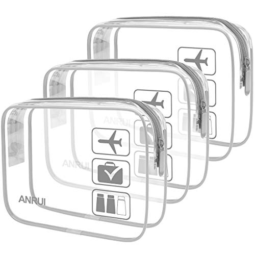 ANRUI Clear Toiletry Bag TSA Approved Travel Carry On Airport Airline Compliant Bag Quart Sized 3-1-1 Kit Travel Luggage Pouch 3 Pack (Grey)