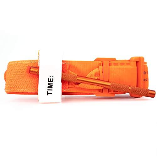 Recon Medical ORNGTQTourniquet - (naranja) Gen 3 Mil-Spec Kevlar - Molinete de metal de aluminio de primeros auxilios táctico Swat médico para salvar la vida en el hospital, tarjeta de registro de control de hemorragia para el control de la hemorragia (1 unidad)