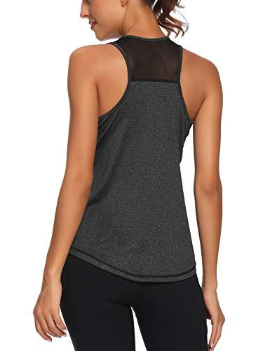 Aeuui Workout Tank Tops for Women Sleeveless Racerback Mesh Yoga Shirts Athletic Sports Running Tops Black