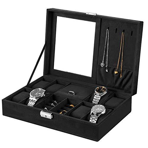 Oyydecor Jewelry Box Watch Box Organizer 8-Slot Storage Watch Organizer Case Jewelry Display Case Organizer with Mirror (Black)