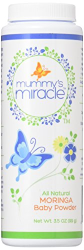 Vollkommen natürliches Mummy's Miracle Moringa Medizinisches Talkumfreies Babypuder, 104 ml.