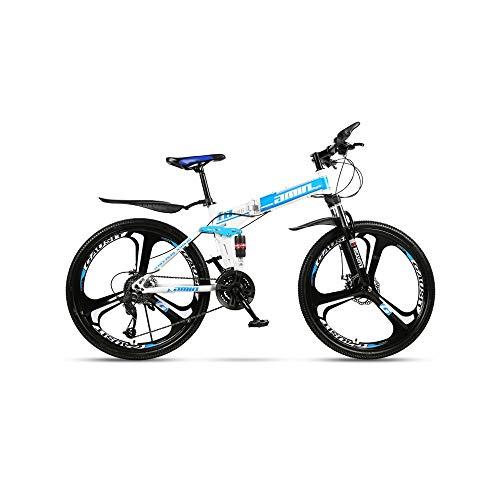 LRHD Moda 24 Velocidad plegable for Bicicleta de 24 pulgadas masculino y femenino estudiantes Shift Frenos Doble Amortiguador adulto Cercanías plegable dual de doble disco Amortiguador Bici de la pist