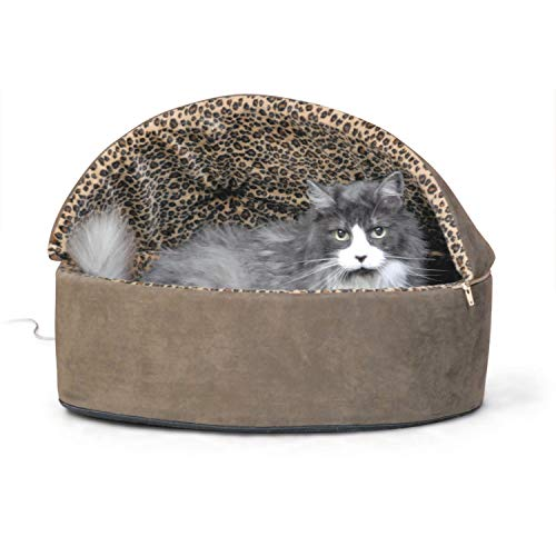 "K&H Pet Products Thermo-Kitty Heated Pet Bed Deluxe Large Mocha/Leopard 20"" 4W"