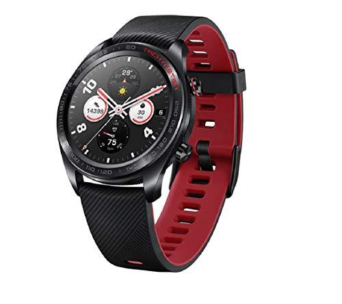 HONOR Smartwatch im klassischen Uhrendesign mit 3 cm (1,2 Zoll) AMOLED Display, Meteorite Black + Rotes Silikon
