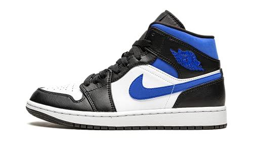 Nike Jordan Uomini Scarpe Air Jordan 1 Mid Racer Blu 554724-140, Bianco/Blu Racer - Nero, 41 EU